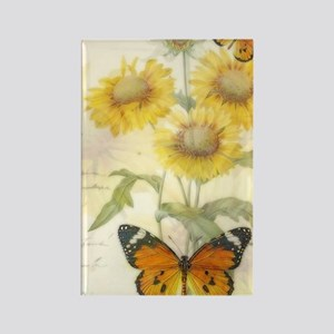 Sunflowers and butterflies Magnets