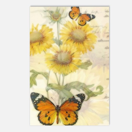 Sunflowers and butterflies Postcards (Package of 8