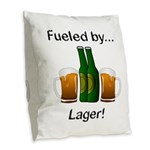 Fueled by Lager Burlap Throw Pillow