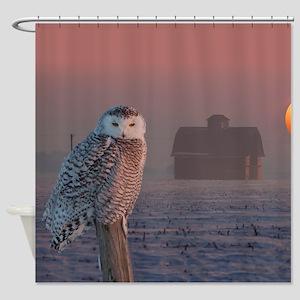 Snowly Owl Barn Scene Shower Curtain