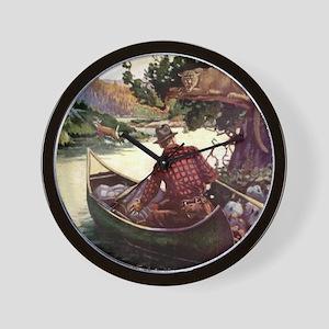 Canoe and Cougar Wall Clock