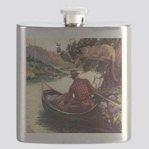 Canoe and Cougar Flask