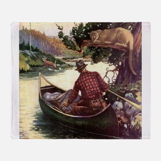 Canoe and Cougar Throw Blanket