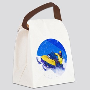 Yellow Snowmobile in Blizzard Canvas Lunch Bag
