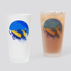 Yellow Snowmobile in Blizzard Drinking Glass