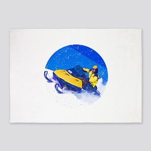 Yellow Snowmobile in Blizzard 5'x7'Area Rug