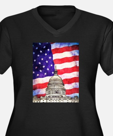 American Flag And Capitol Building Plus Size T-Shi
