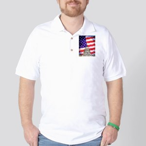 American Flag And Capitol Building Golf Shirt