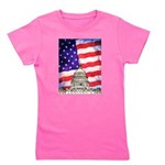 American Flag And Capitol Building Girl's Tee