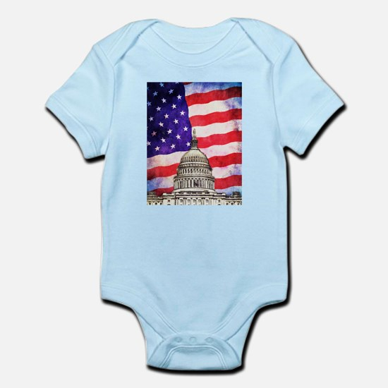American Flag And Capitol Building Body Suit