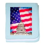 American Flag And Capitol Building baby blanket