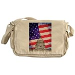 American Flag And Capitol Building Messenger Bag