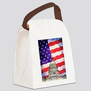American Flag And Capitol Building Canvas Lunch Ba
