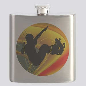 Skateboarding Silhouette in the Bowl. Flask