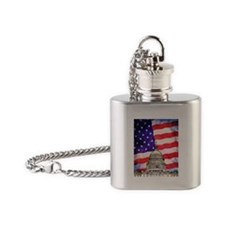 American Flag And Capitol Building Flask Necklace