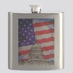 American Flag And Capitol Building Flask