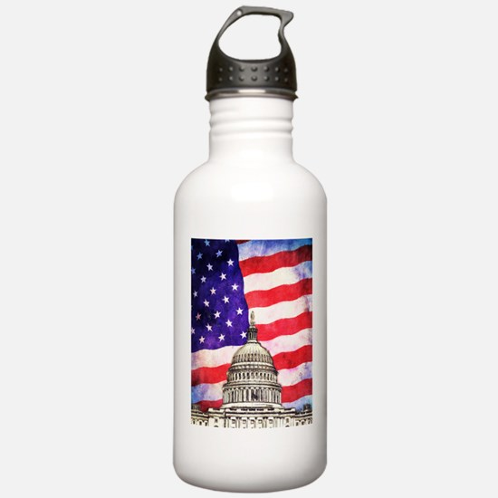 American Flag And Capitol Building Water Bottle