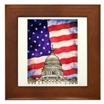 American Flag And Capitol Building Framed Tile