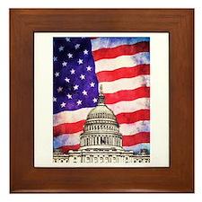 American Flag And Capitol Building Framed Tile