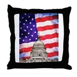 American Flag And Capitol Building Throw Pillow