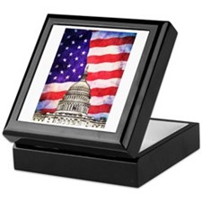 American Flag And Capitol Building Keepsake Box