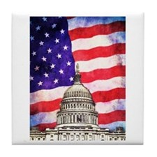 American Flag And Capitol Building Tile Coaster