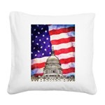 American Flag And Capitol Building Square Canvas P