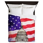 American Flag And Capitol Building Queen Duvet