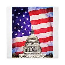 American Flag And Capitol Building Queen Duvet