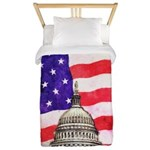 American Flag And Capitol Building Twin Duvet