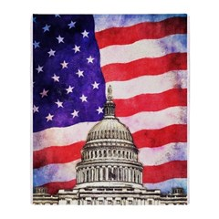 American Flag And Capitol Building Throw Blanket