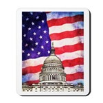 American Flag And Capitol Building Mousepad