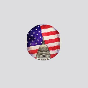 American Flag And Capitol Building Mini Button