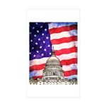 American Flag And Capitol Building Sticker