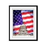 American Flag And Capitol Building Framed Panel Pr