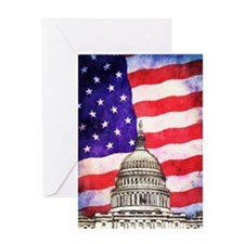 American Flag And Capitol Building Greeting Cards