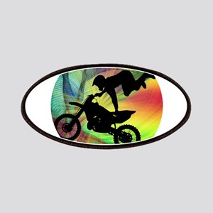 Motocross in Psychedelic Spider Web Patches