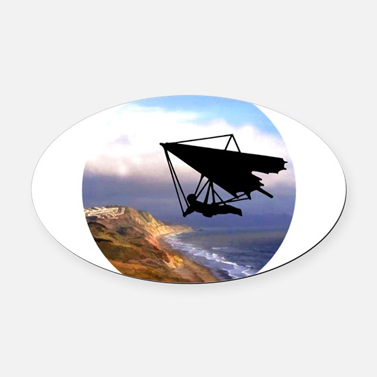 Hang Gliding Over the California C Oval Car Magnet