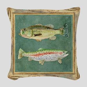 Fishing Cabin Lake Lodge Plaid Woven Throw Pillow