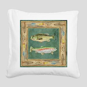 Fishing Cabin Lake Lodge Plai Square Canvas Pillow