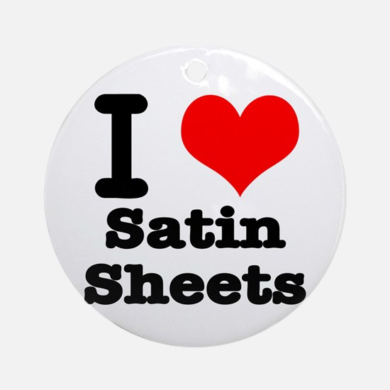 I Heart (Love) Satin Sheets Ornament (Round)