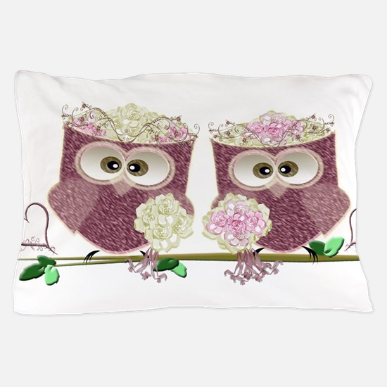 Two Brides Cute Wedding Owls Art Pillow Case
