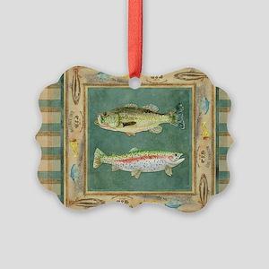 Fishing Cabin Lake Lodge Plaid De Picture Ornament