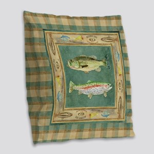 Fishing Cabin Lake Lodge Plaid Burlap Throw Pillow