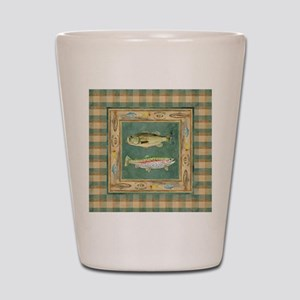 Fishing Cabin Lake Lodge Plaid Decor Shot Glass