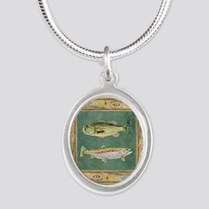 Fishing Cabin Lake Lodge Plai Silver Oval Necklace