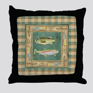 Fishing Cabin Lake Lodge Plaid Decor Throw Pillow