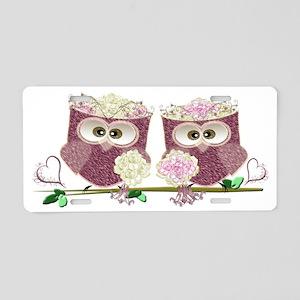 Two Brides Cute Wedding Owl Aluminum License Plate