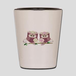 Two Brides Cute Wedding Owls Art Shot Glass