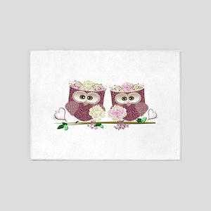 Two Brides Cute Wedding Owls Art 5'x7'Area Rug